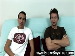 Gay clip of Sitting back down on the futon, dressed only in their