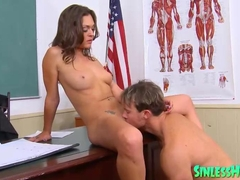 Teacher bangs a horny brunette schoolgirl