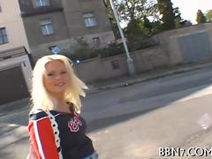 Blonde euro hottie sucks a dick off in the bushes