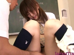 Tiny japanese cocksucking babe riding cock