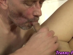 Tranny swallows group cum
