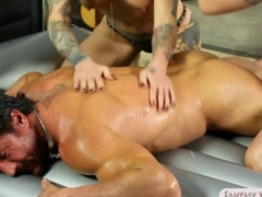 Two masseuses share clients hard shaft after a massage