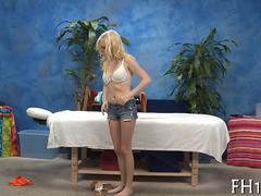 blonde teen gets to be fucked on the massage table
