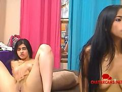 Two Latina Teens Joint Bedroom Masturbation Show