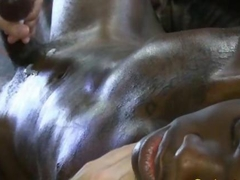 Ebony muscle jock squirts his load