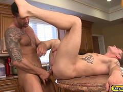 Steamming blowjob and anal in the kitchen for gay chefs