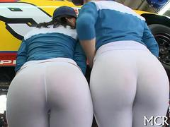 Hot car mechanics show off their oiled up asses
