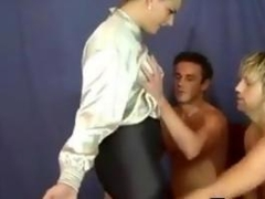 Woman Wearing A Blouse With Two Guys