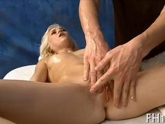 Blondes mesmerizing body massaged before doggy style sex
