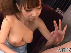 sucking on the dick and the Asian eats it good