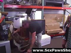 Cash strapped lesbians do sex on camera for pay at pawn shop