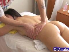 Very cute brunette naked massage