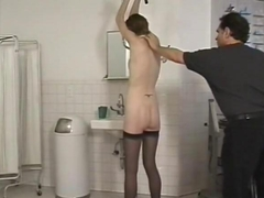 Horny master enjoys a BDSM session with his skinny slave-girl