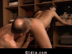 Shameless young slut sucking married old cock