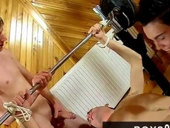 Emo cuties play with a tied up slave