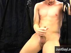 Twink with vibrator cums Jackson Miller jumped at the chance to use our fresh swing setup