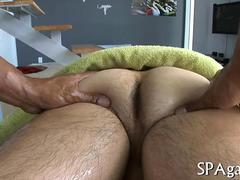 Black masseur sucking off his horny white client