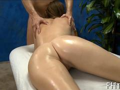 Honey slathered in oil and smacked with a masseurs dick