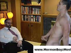 Older gay man jizzes young straight mormon guy