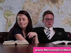 Young sexy Mormon couple strip from underwear for fetish sex