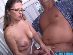 Saggy mature tugging cock outdoor in public