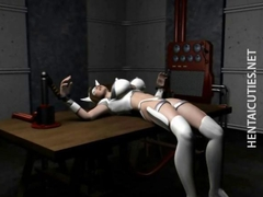 Hottie 3D anime slave gets tied up and scanned