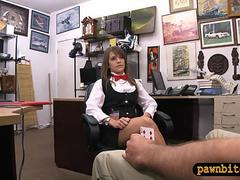 Cute card dealer pounded by horny pawn man at the pawnshop