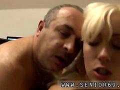 Immaculate blonde honey sucking a fat old guy
