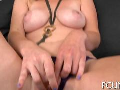 Fat fingers and dick stretch a busty chicks pussy