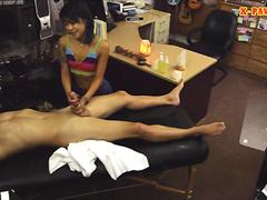 Tight asian chick pawns her massage table and rammed