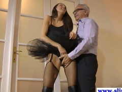 Petite eurobabe fucked in tutu by old male