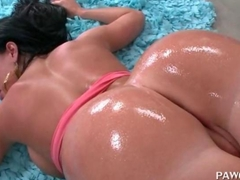 Oiled up ex-GF fucked after erotic massage