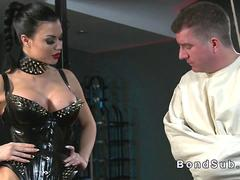 Straight jacket slave wanked by his bdsm brunette domina