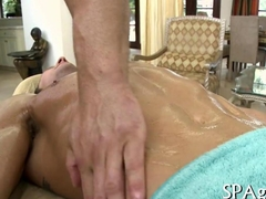 Oiled slathered stud sucked off by his masseur