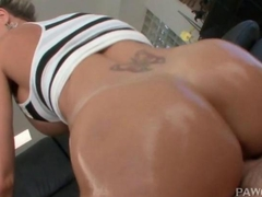 Sweet ass hooker going up and down huge cock