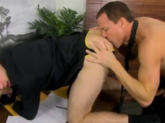 Horny gay boss seduces his young employee