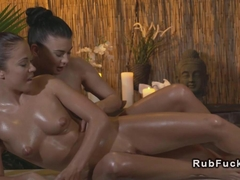 Busty lesbian masseuse in action massage euro