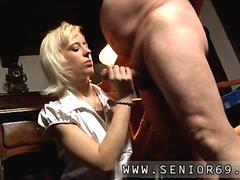 Hot blonde blows a fat old dude in his office