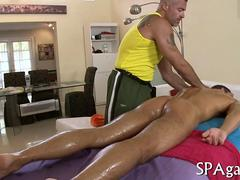 Oiled up straighty gets plowed by a black masseur