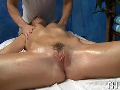 pressing on her vagina and she loves the feeling