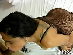 Torn stockings expose her pussy to a deep dicking