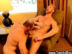 Bearded blonde stud sucked off by a bear
