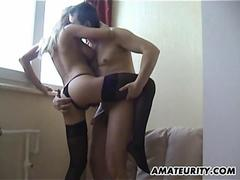Amateur girlfriend with big tits homemade hardcore action