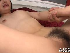 Hairy little Asian honey humped by two guys