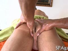 Black massage therapist gets his hands on a guys ass