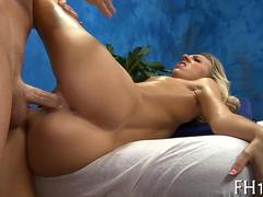 Slender blonde babe with tiny tits fucks her masseur