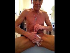 old man is a freak as he wanks his dick