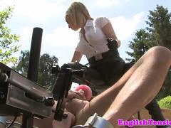 Dominatrix punishing useless sub