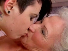 Young brunette loves busty fat granny