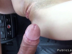 Amateur squirts and fucks in the car in public